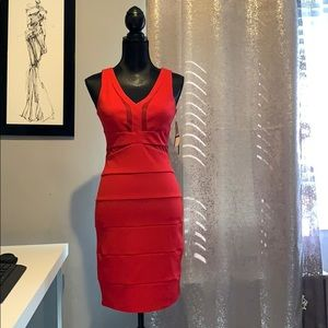 Red dress with mesh cutouts in front and back